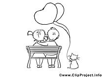 Chat clip art gratuit – Saint-valentin à imprimer