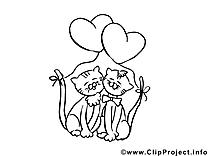 Chats image à télécharger – Saint-valentin à colorier