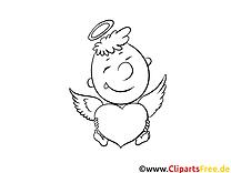 Clip art ange – Saint-valentin image à colorier
