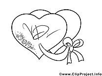 Clip art gratuit coeurs – Saint-valentin à colorier