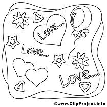 Coloriage amour image à télécharger gratuite