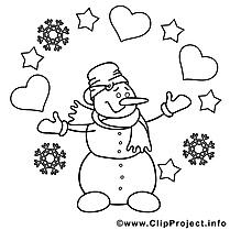 Coloriage bonhomme de neige image à télécharger