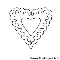 Coloriage coeur illustration à télécharger