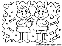 Coloriage lapins illustration à télécharger