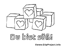 Cubes clip art – Saint-valentin image à colorier