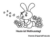Dessin lapin – Coloriage saint-valentin à télécharger