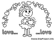 Femme dessin à télécharger – Saint-valentin à colorier