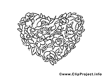 Fête dessin gratuit – Saint-valentin à colorier