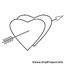 Flèche dessin – Coloriage saint-valentin à télécharger