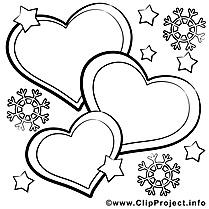 Flocons clipart – Saint-valentin dessins à colorier