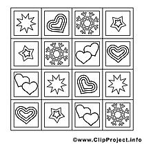 Flocons illustration – Saint-valentin à imprimer