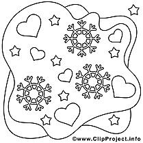 Hiver dessin gratuit – Saint-valentin à colorier