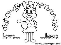 Lapin images – Saint-valentin gratuits à imprimer