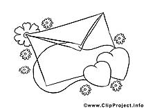 Lettre image gratuite – Saint-valentin à colorier