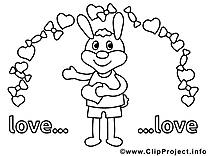 Lièvre cliparts gratuis – Saint-valentin à imprimer