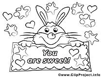 Lièvre dessins gratuits – Saint-valentin à colorier