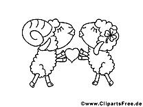Moutons illustrationes gratuites – Saint-valentin à colorier