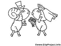 Moutons image – Saint-valentin images à colorier