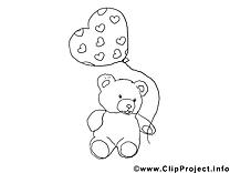 Ours en peluche images – Saint-valentin à colorier