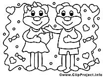 Ours image – Coloriage saint-valentin illustration