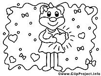 Ours image gratuite – Saint-valentin à imprimer