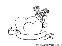 Roses dessin à télécharger – Saint-valentin à colorier