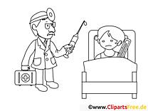 Malade clipart – Santé dessins à colorier