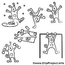 Chien clip art gratuit – Sport à colorier