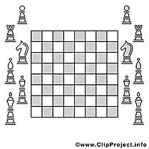 Échecs clip art – Sport image à colorier