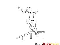Skateboard clipart gratuit – Sport à colorier