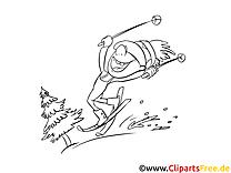 Ski clip art gratuit – Sport à colorier