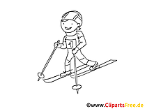 Ski image gratuite – Sport à colorier