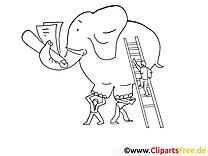 Éléphant image – Coloriage travail illustration