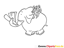 Éléphant image – Travail images à colorier