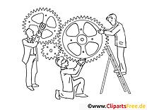 Mécanisme image – Coloriage travail illustration