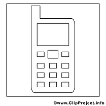 Smartphone clipart gratuit – Travail à colorier