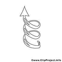 Spiralée flèche clipart gratuit – Travail à colorier