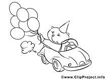 Ours dessins gratuits – Voitures à colorier