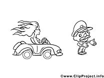 Policier clipart – Voitures dessins à colorier