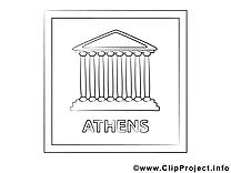 Athénes dessin gratuit – Voyage à colorier