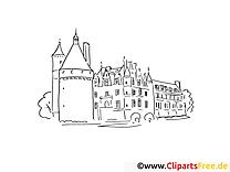 Château dessin – Coloriage voyage à télécharger