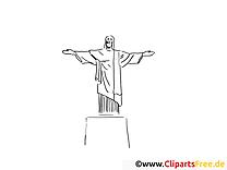 Christ Rédempteur dessin – Voyage à colorier