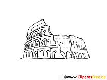 Colisée image – Coloriage voyage illustration