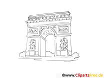Coloriage arc de triomphe illustration à télécharger