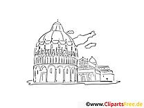 Monument clipart gratuit – Voyage à colorier