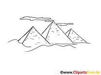 Pyramides clip art gratuit – Voyage à colorier