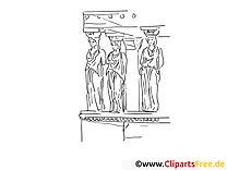 Statues dessin – Coloriage voyage à télécharger