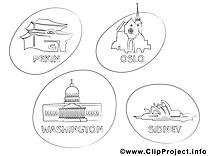 Villes clip art gratuit – Voyage à colorier