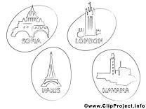 Villes dessins gratuits – Voyage à colorier