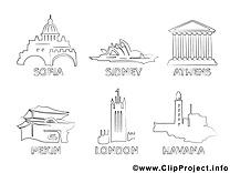 Villes image gratuite – Voyage à colorier